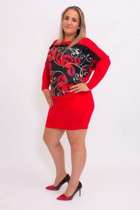 Mintás piros ruha