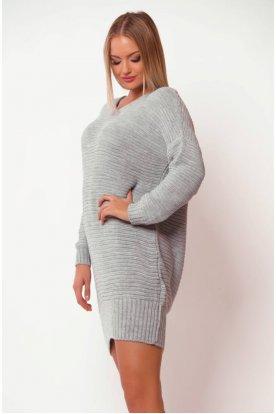 V nyakú kötött hosszított pulóver