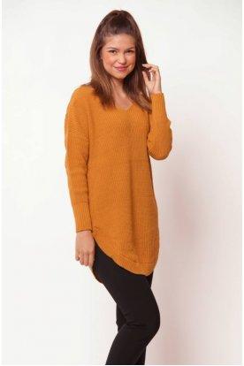 V nyakú hosszított pulóver