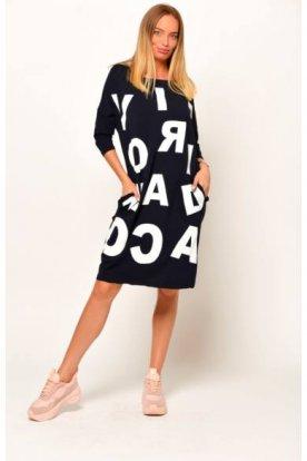 Divatos zsebes nyomott betűkkel díszített hosszított felső /ruha