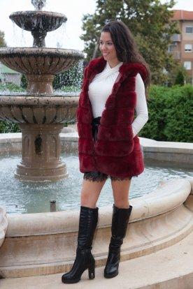 Női divatos hoszitott szőrmés kapucnis mellény