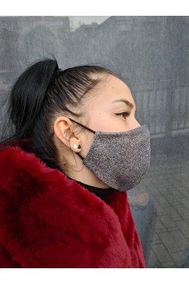 Csillogós ezüst női divatos maszk