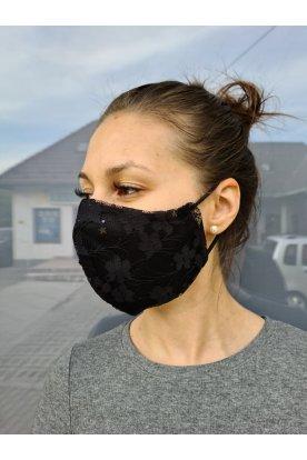 Fekete virágmintával díszített csipke maszk