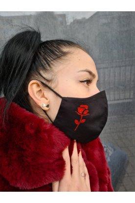 Csillogós rózsa nyomott mintás maszk