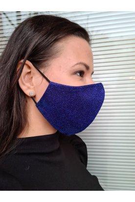 Csillogós kék divatos mosható maszk