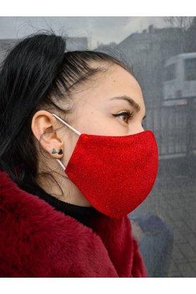 Divatos mosható piros színű csillogós maszk