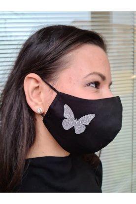Nyomott mintás pillangós fekete maszk