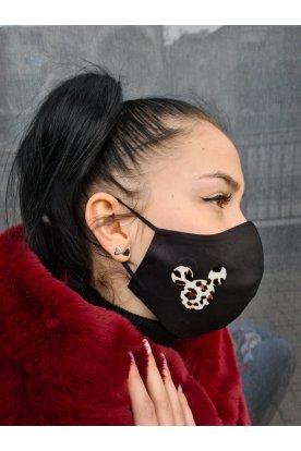 Egér mintás fekete színű mosható szájmaszk