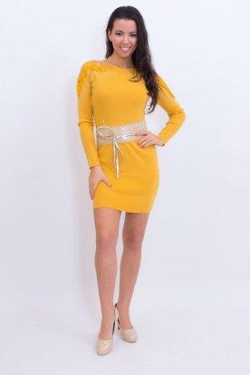 Divatos alkalmi, vállon díszített, testhezálló mini ruha