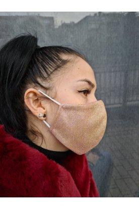 Csillogós rózsaszín-arany női divatos maszk