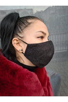 Csillogós fekete női divatos maszk