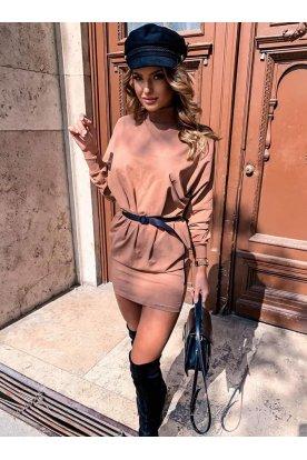Női oldal zsebes, garbós hosszú ujjú divatos mini ruha