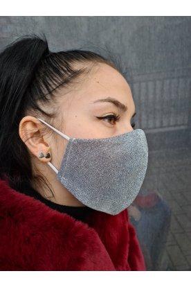 Ezüst színű csillogós mosható maszk