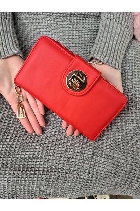 Piros színű matt felületű női pénztárca