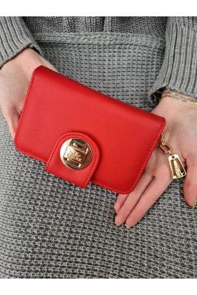 Piros színű matt felületű elfordítható- és cipzáras női pénztárca