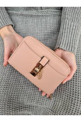 Egyszínű trendi női pénztárca elfordítható- és cipzárral
