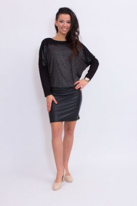 Ezüst bőrszoknyás denevér fazonú divatos mini ruha /tunika