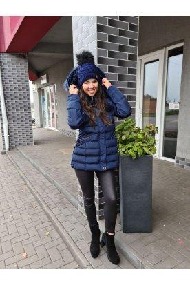 Divatos női téli kabát prémmel