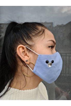 Kövekkel díszített kék szájmaszk