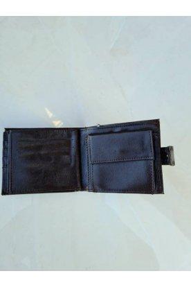 Sötét barna színű stílusos férfi pénztárca