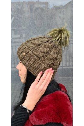 Csavart mintás női divatos téli sapka