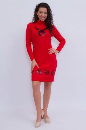 Szexi piros karácsonyi mintával díszített hosszú ujjú garbós ruha