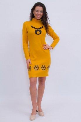 Szexi mustár színű karácsonyi mintás hosszú ujjú garbós ruha