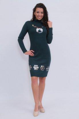 Szexi sötét zöld színű karácsonyi motívumokkal díszített hosszú ujjas garbós ruha