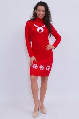 Szexi piros színű karácsonyi mintás hosszú ujjas garbós ruha