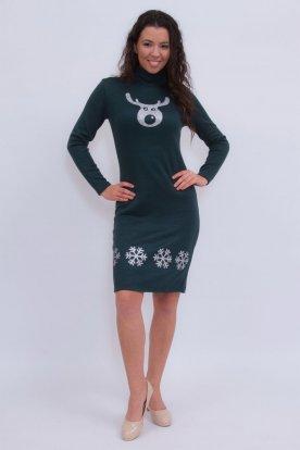 Szexi sötét zöld hosszú ujjas karácsonyi motívummal díszített garbós ruha
