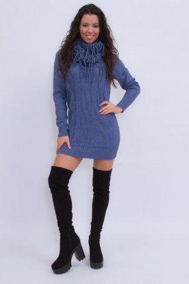 Divatos női kötött mini ruha sállal