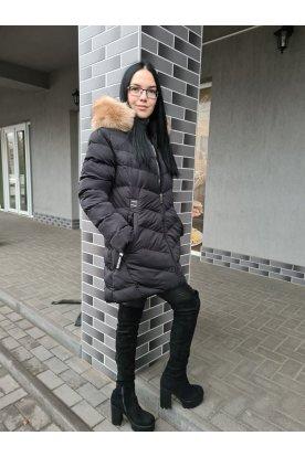 Divatos fekete nagy méretű télikabát prémmel