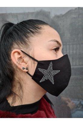 Divatos csillag mintával díszített női szájmaszk