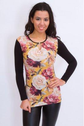 Rucy Fashion alkalmi virág mintás és csattal díszített hosszú ujjas felső