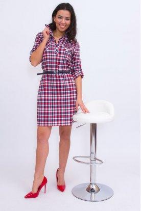 Catania nagy méretű szexi és divatos apró kockás ingruha műbőr övvel