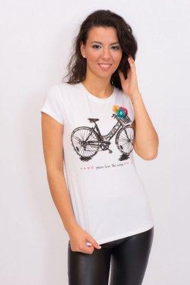 Divatos kerékpár mintás női rövid ujjú felső