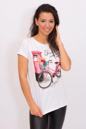 Divatos női rövid ujjú felső elején kerékpár mintával és díszítéssel
