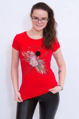 Divatos női rövid ujjú felső elöl divatos mintával és díszítéssel