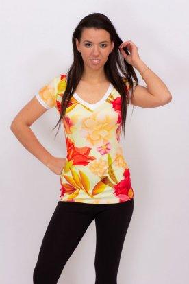 RUCY FASHION divatos virág mintás rövid ujjú alkalmi felső