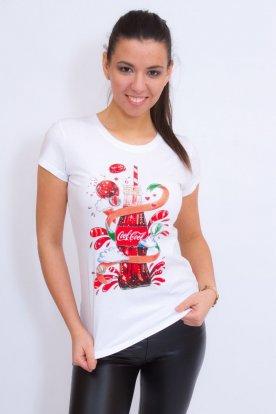 Divatos női rövid ujjú póló üdítő mintával