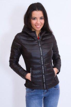 Divatos női rövid derekú átmeneti kabát felirattal díszítve