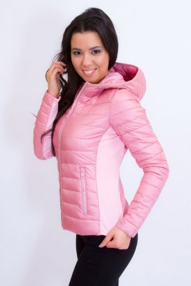 YES PINK divatos női rövid derekú átmeneti kabát felirattal díszítve