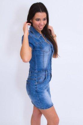 GOURD JEANS Nagy méretű világoskék divatosan koptatott női farmer mini ruha