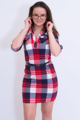CATANIA divatos női galléros ingruha műbőr övvel