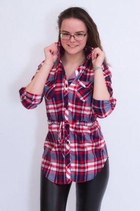 CATANIA divatos női kockás, derékban megköthető ingtunika