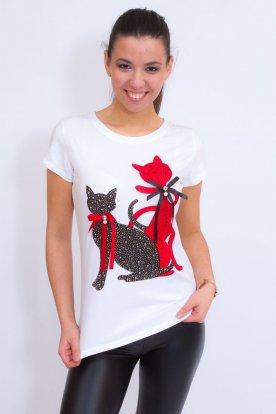 Divatos női rövid ujjú póló cica mintával