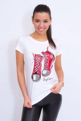 Divatos női rövid ujjú póló cipő mintával