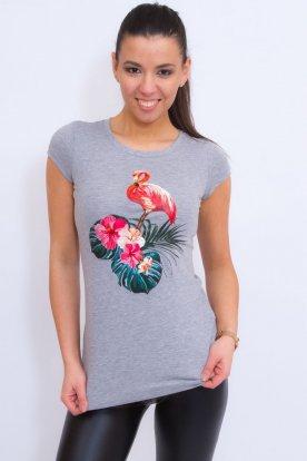 VICTORIA MODA divatos női flamingó mintás rövid ujjú póló
