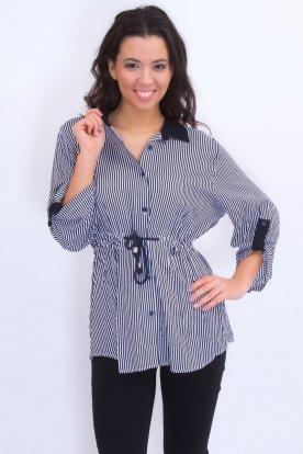 CATANIA divatos nagy méretű csíkos ingtunika, mely derékban megköthető