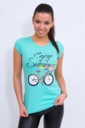 VICTORIA MODA divatos bicikli mintás rövid ujjú póló